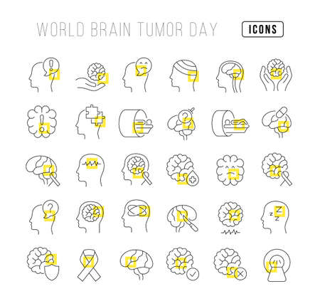 Set vector line thin icons of world brain tumor day in linear design for mobile concepts and web apps. Collection modern infographic pictogram and signs. 免版税图像 - 156635735