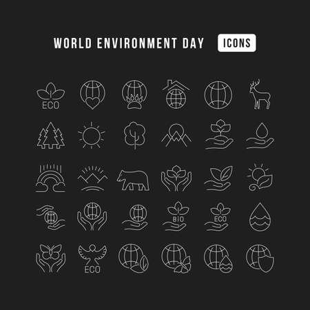 Collection of vector black and white icons of world environment day in simple design for mobile concepts, web and applications. Set modern logos and pictograms. 免版税图像 - 156635738