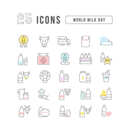Set vector line thin icons of world milk day in linear design for mobile concepts and web apps. Collection modern infographic pictogram and signs. Vectores