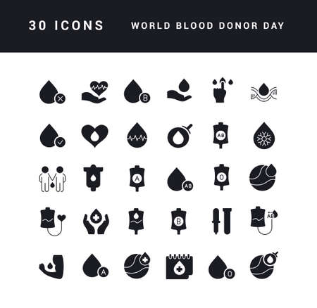 Collection of vector black and white icons of world blood donor day in simple design for mobile concepts, web and applications. Set modern logos and pictograms.