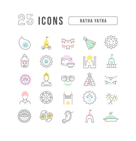 Set vector line thin icons of ratha yatra in linear design for mobile concepts and web apps. Collection modern infographic pictogram and signs. 免版税图像 - 156635765