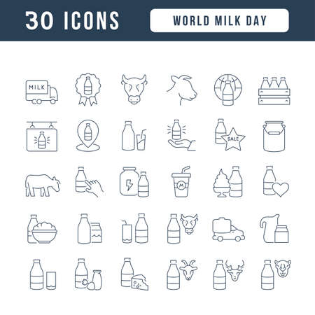 Set vector line thin icons of world milk day in linear design for mobile concepts and web apps. Collection modern infographic pictogram and signs. 矢量图像