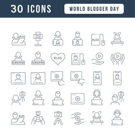 Set vector line thin icons of world blogger day in linear design for mobile concepts and web apps. Collection modern infographic pictogram and signs. Vectores