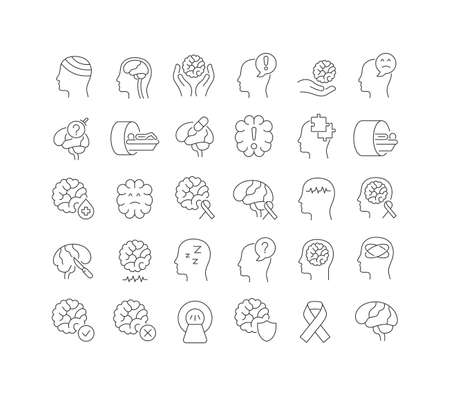 Set vector line thin icons of world brain tumor day in linear design for mobile concepts and web apps. Collection modern infographic pictogram and signs. Vectores