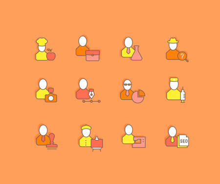 Collection simple icons of professions on an orange background. Modern color signs for websites, mobile apps, and concepts