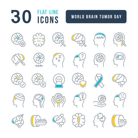 Set vector line thin icons of world brain tumor day in linear design for mobile concepts and web apps. Collection modern infographic pictogram and signs. 免版税图像 - 156635803