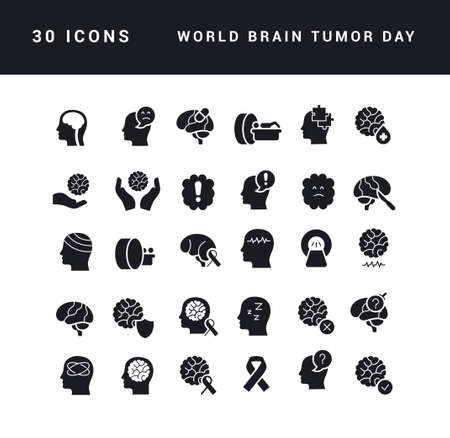 Collection of vector black and white icons of world brain tumor day in simple design for mobile concepts, web and applications. Set modern logos and pictograms. 免版税图像 - 156635810