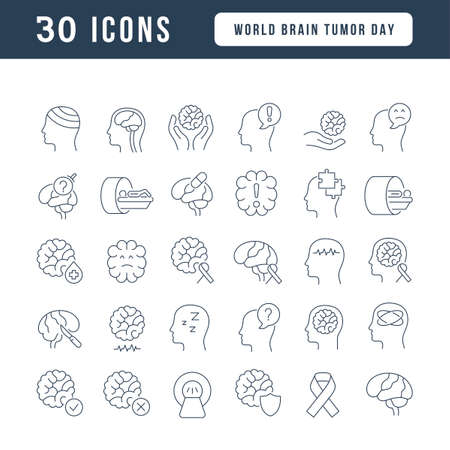 Set vector line thin icons of world brain tumor day in linear design for mobile concepts and web apps. Collection modern infographic pictogram and signs. 免版税图像 - 156635813