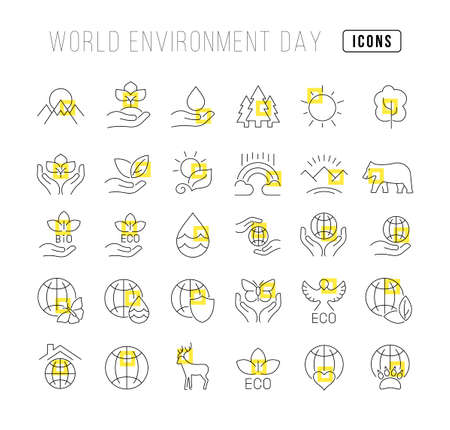 Collection of vector black and white icons of world environment day in simple design for mobile concepts, web and applications. Set modern logos and pictograms.