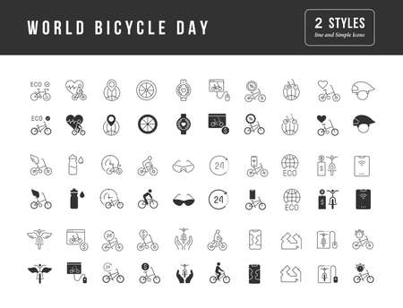 Collection of vector black and white icons of world bicycle day in simple design for mobile concepts, web and applications. Set modern logos and pictograms. Ilustração
