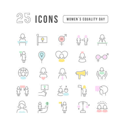 Set vector line thin icons of women equality day in linear design for mobile concepts and web apps. Collection modern infographic pictogram and signs. 免版税图像 - 156635821