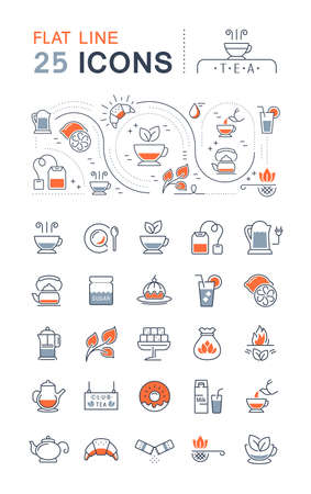 Set vector line icons in flat design tea and breakfast with elements for mobile concepts and web apps. Collection modern infographic logo and pictogram. 免版税图像 - 156635823