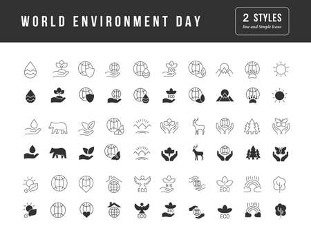 Collection of vector black and white icons of world environment day in simple design for mobile concepts, web and applications. Set modern logos and pictograms. 免版税图像 - 156635826