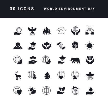 Collection of vector black and white icons of world environment day in simple design for mobile concepts, web and applications. Set modern logos and pictograms. 免版税图像 - 156635828