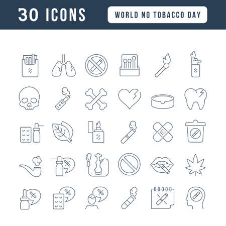 Set vector line thin icons of world no tobacco day in linear design for mobile concepts and web apps. Collection modern infographic pictogram and signs. 免版税图像 - 156635829