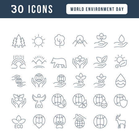 Collection of vector black and white icons of world environment day in simple design for mobile concepts, web and applications. Set modern logos and pictograms. 免版税图像 - 156635831