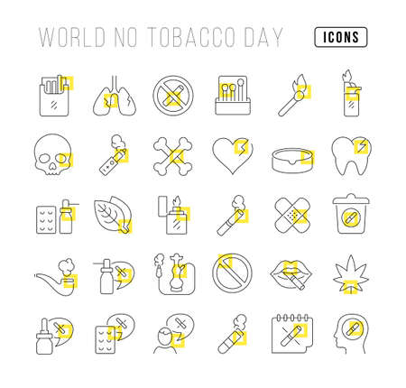 Set vector line thin icons of world no tobacco day in linear design for mobile concepts and web apps. Collection modern infographic pictogram and signs. 免版税图像 - 156635833