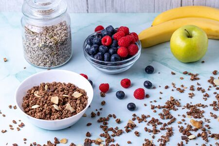 Muesli with berries on the table