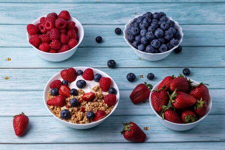 Muesli with greek yogurt on the table