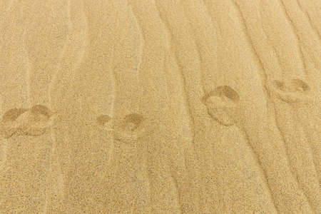 Footprints of bare feet on a sandy background