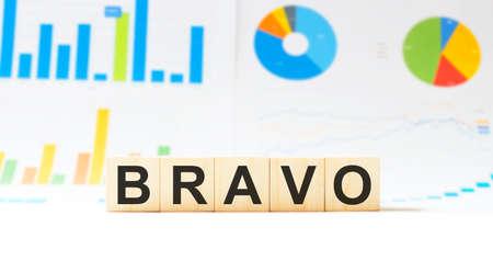 Word BRAVO made with wood building blocks Stock Photo