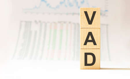 Word VAD made with wood building blocks.business concept