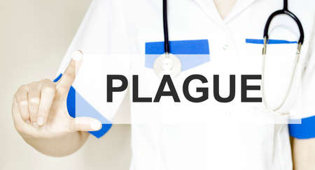 Doctor writing word plague with hands, Medical concept. Stok Fotoğraf