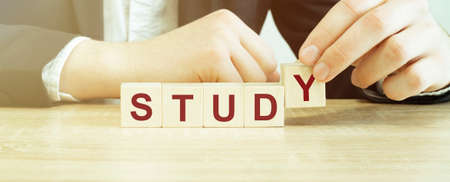 Man made word study with wood blocks