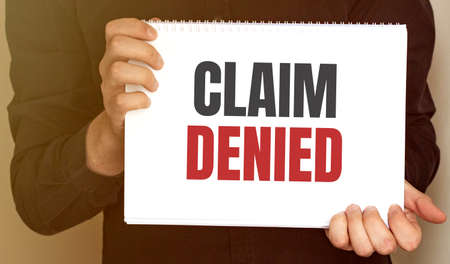 card with text Claim Denied. business concept Stockfoto