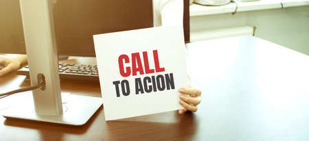 card with text Call To Action, business concept Imagens