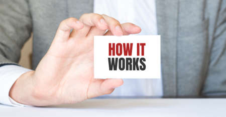 Businessman holding a business card with text How it works, business concept