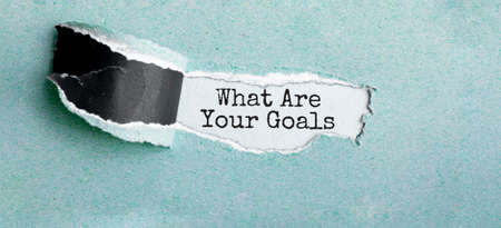 The text WHAT ARE YOUR GOALS appearing behind torn brown paper Reklamní fotografie
