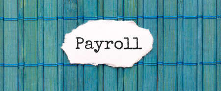PAYROLL text on the piece of paper on the green wood background 写真素材