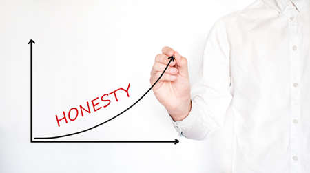 Young businessman drawing HONESTY diagram concept. Isolated on white. Stock fotó