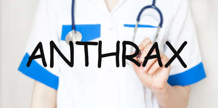 Doctor holding a marker with text ANTHRAX medical concept