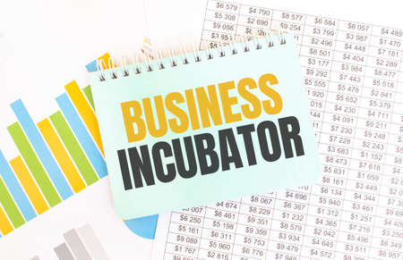 Green notepad on financial documentation. Text Business Incubator. Business concept