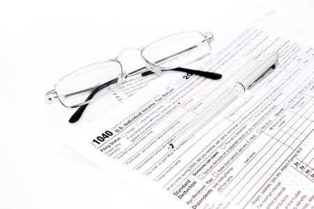 US Individual Income Tax Return form 1040. Tax concept