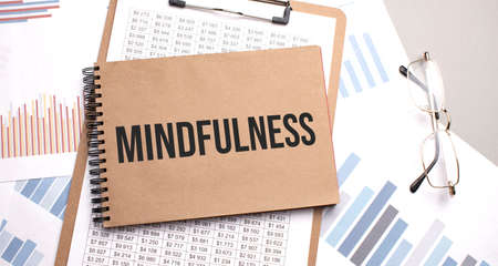 Notepad with text Mindfulness on a charts and numbers. Business concept. Stock Photo