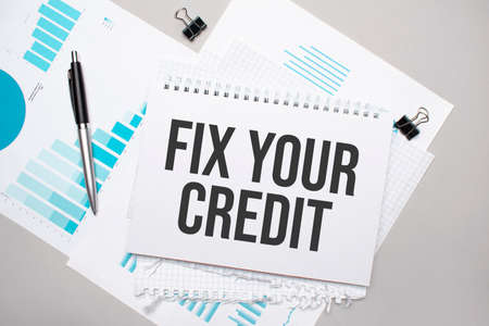 Paper plate with text fix your credit. Diagram, notepad and blue background