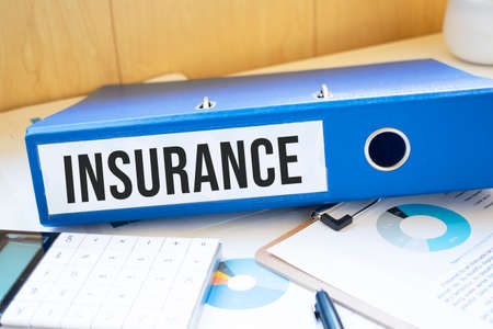 insurance words on labels with document binders