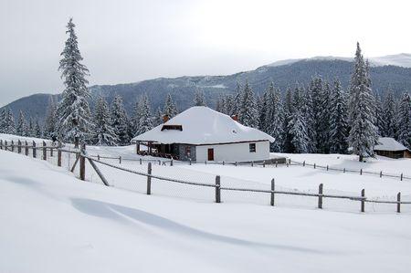 carpathian: Chalet after snow, Carpathian mountains Stock Photo