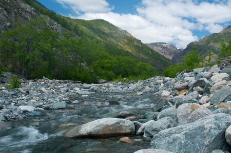 River amongst stone in valley amongst mountains Baikal Russia