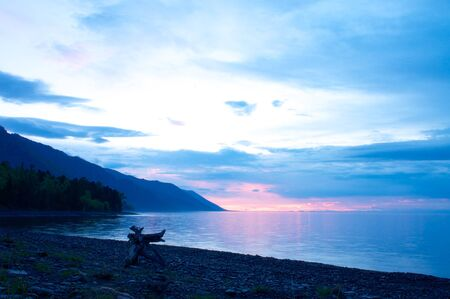 the sunset at Lake Baikal in summer time