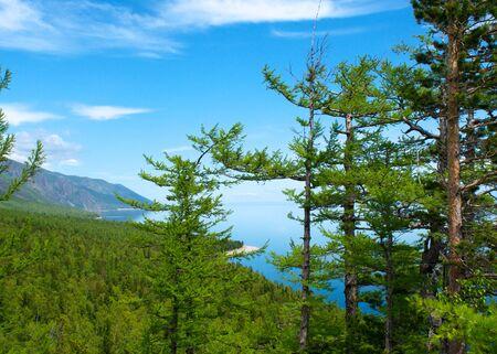 Mountains on Lake Baikal blue sky, sun day