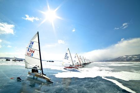 NOVOSIBIRSK,RUSSIA-DECEMBER21:Regatta, Ice sailing on the frozen lake competition, December21, 2009 in Novosibirsk, Russia