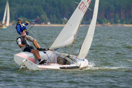 NOVOSIBIRSK,RUSSIA-JULY12:Sailing Regatta, Inter-regional competition to support childrens sailing Siberiariver-2015 July12, sailing kids, 2015 in Novosibirsk, Russia