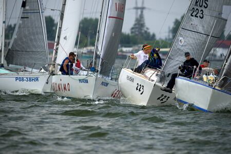 ship bow: NOVOSIBIRSK,RUSSIA-JULY12:Sailing Regatta, Inter-regional competition to support childrens sailing Siberiariver-2015 July12, 2015 in Novosibirsk, Russia