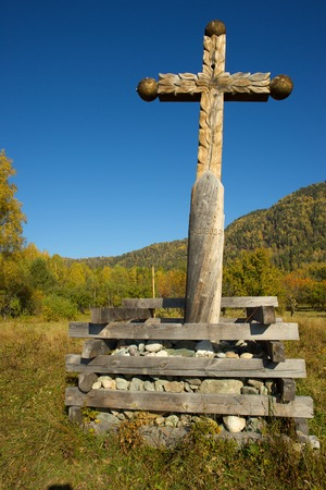 siberia: A large wooden Orthodox cross at Teletskoye Lake