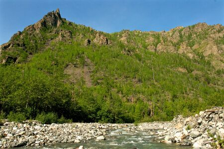 Mountain valley in the summer time with blue sky background, Baikal Stock Photo