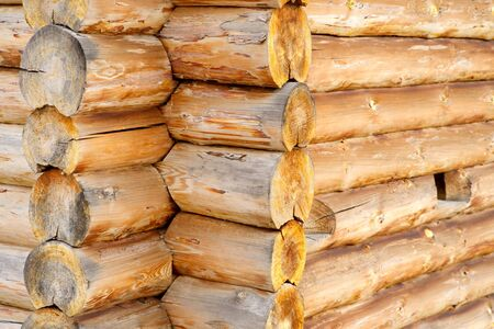 Corner of blockhouse from logs closeup, Russia Stock Photo